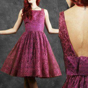 S Vintage 50s Lace Party Cocktail Dress